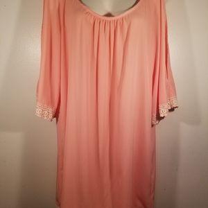 GLAM cold shoulder peach dress embroidered trim